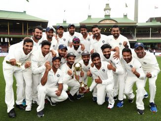 SYDNEY, AUSTRALIA - JANUARY 07: India celebrate winning the series and the Border–Gavaskar Trophy during day five of the Fourth Test match in the series between Australia and India at Sydney Cricket Ground on January 07, 2019 in Sydney, Australia. (Photo by Matt King - CA/Cricket Australia/Getty Images)