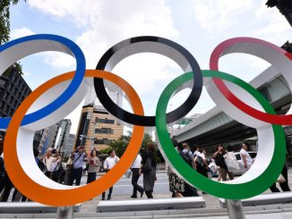 Mandatory Credit: Photo by Aflo/Shutterstock (10346040b) The Olympic Rings adorn an event square which opens at Tokyo's Nihonbashi to mark just one year to the start of the 2020 Tokyo Olympics and Paralympics. Tokyo Olympic Games One Year to Go, Japan - 24 Jul 2019