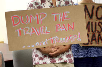 rally against Trump immigration ban NY 1